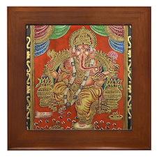 HINDU GOD GANESH VINTAGE Framed Tile