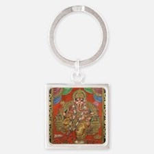 HINDU GOD GANESH VINTAGE Square Keychain