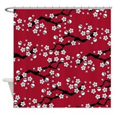 Gothic Cherry Blossoms Pattern Shower Curtain