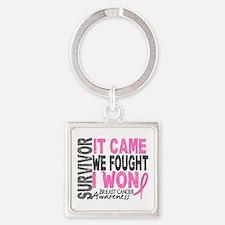 Breast Cancer Survivor 2 Square Keychain