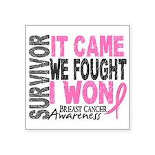 """Breast Cancer Survivor 2 Square Sticker 3"""" x 3"""""""