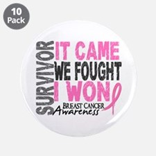 """Breast Cancer Survivor 2 3.5"""" Button (10 pack)"""