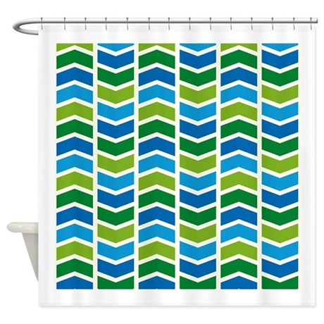 Bright Blue And Green Chevron Shower Curtain By Nature Tees