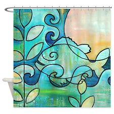 Sun Fish Beach Water Blue Green Shower Curtain