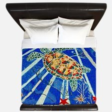 Starfish and Turtle Seascape King Duvet