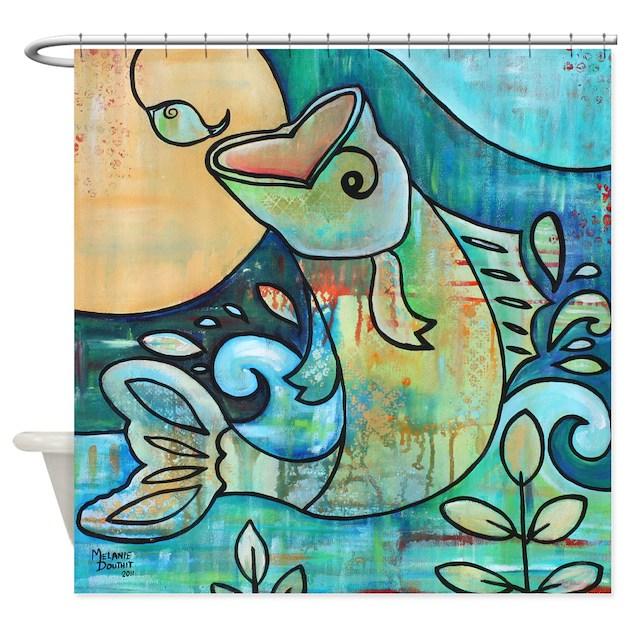 Bass Fish Jumping Hook Shower Curtain By Melaniedouthitart