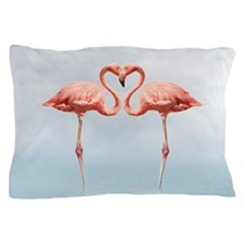 Pink Flamingos In Love Pillow Case