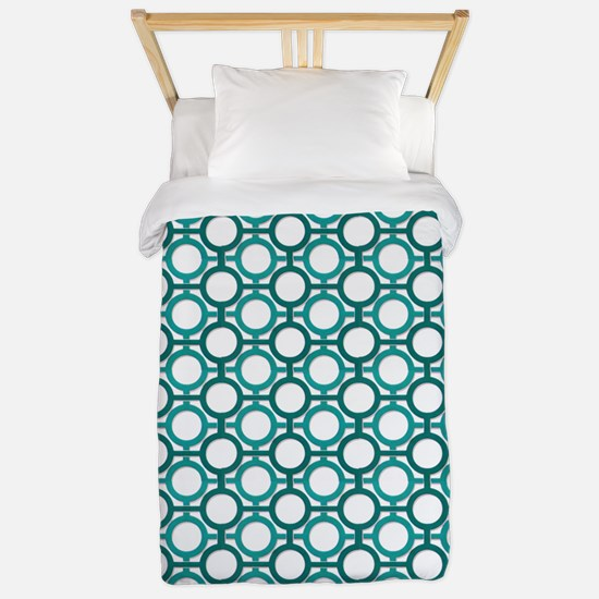 Circles Bars Trellis Shades of Turquoise TWIN Twin