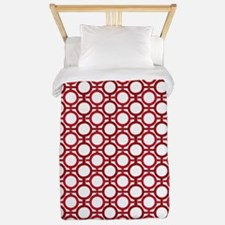 Circles Bars Trellis Shades of Red TWIN Twin Duvet