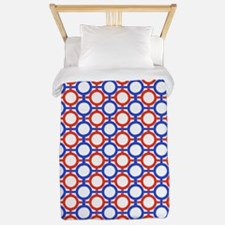 Circles Bars Trellis Red White Blue TWIN Twin Duve