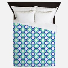 Circles Bars Trellis Blue Green QUEEN Queen Duvet