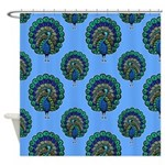 Peacocks On Blue Shower Curtain