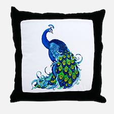Beautiful Blue Peacock Throw Pillow