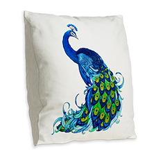 Beautiful Blue Peacock Burlap Throw Pillow