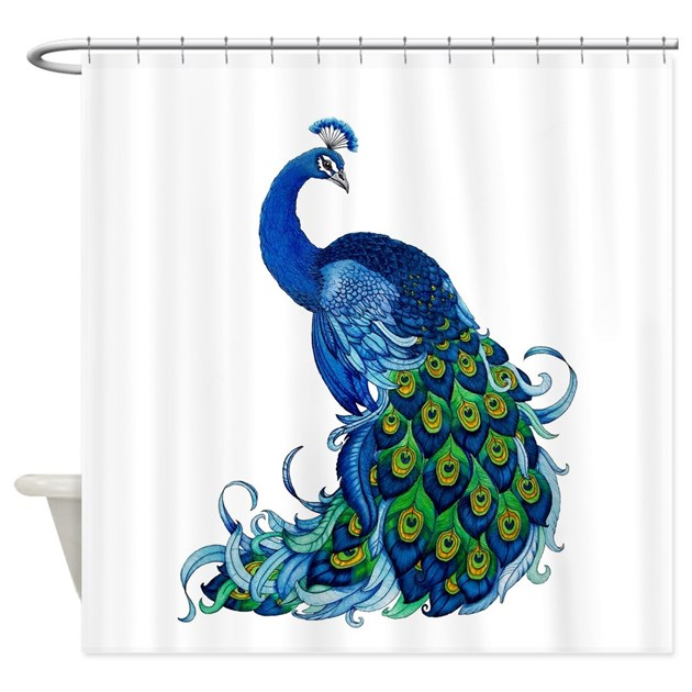 Beautiful Blue Peacock Shower Curtain By Everiris