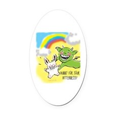 Bitter Bunny Oval Car Magnet