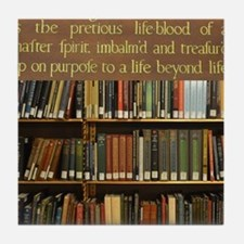 Bookshelves and Quotation Tile Coaster