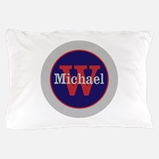 Blue Red Name and Initial Monogram Pillow Case
