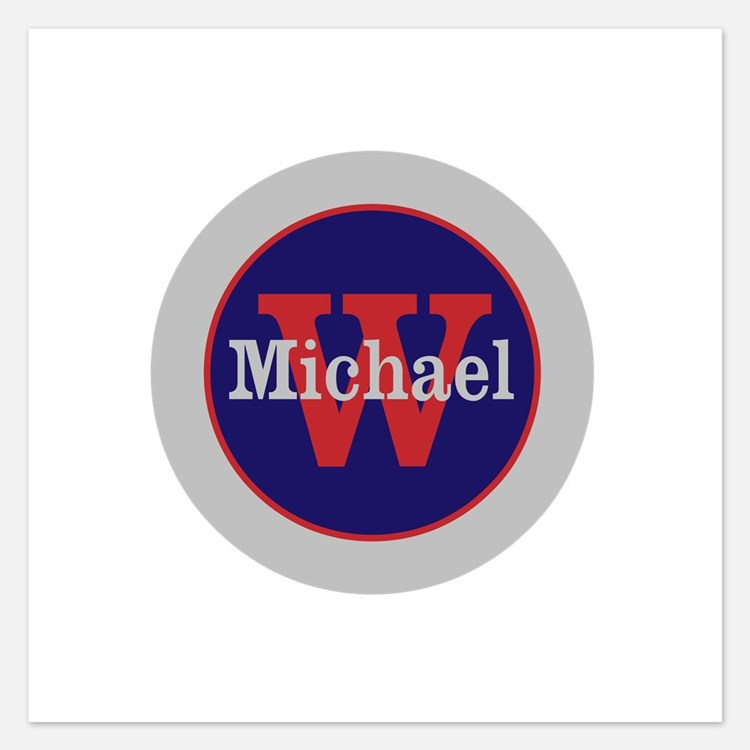 Blue Red Name and Initial M Invitations