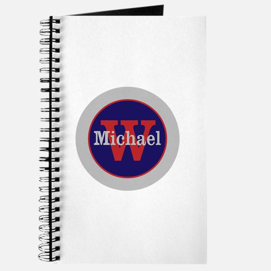 Blue Red Name and Initial Monogram Journal