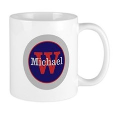 Blue Red Name and Initial Monogram Mug