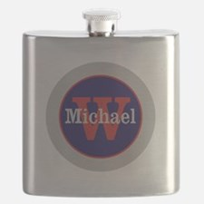 Blue Red Name and Initial Monogram Flask