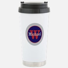 Blue Red Name and Initi Travel Mug