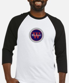 Blue Red Name and Initial Monogram Baseball Jersey