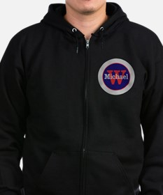 Blue Red Name and Initial Monogr Zip Hoodie (dark)
