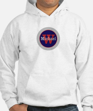 Blue Red Name and Initial Monogr Jumper Hoody
