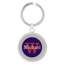 Blue Red Name and Initial Monogram Round Keychain
