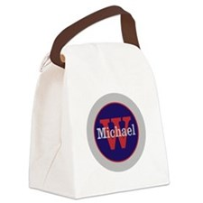 Blue Red Name and Initial Monogra Canvas Lunch Bag