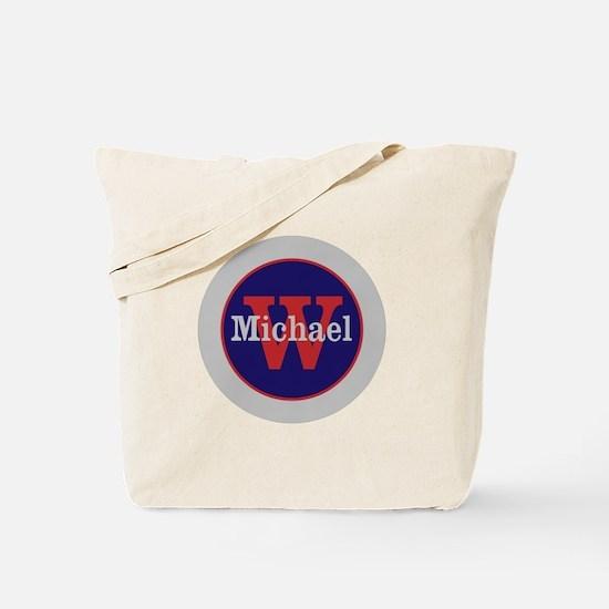 Blue Red Name and Initial Monogram Tote Bag