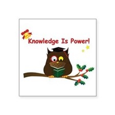 """Wise Owl for Christmas Square Sticker 3"""" x 3"""""""