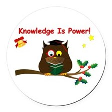 Wise Owl for Christmas Round Car Magnet