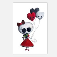 Cute Skeleton Girl with Spooky Balloons Postcards