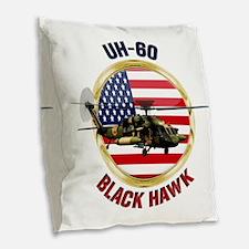 UH-60 Black Hawk Burlap Throw Pillow