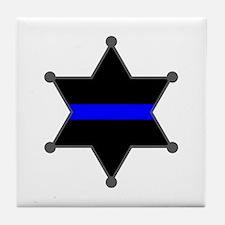 Blue Line Badge 2 Tile Coaster