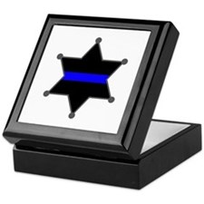 Blue Line Badge 2 Keepsake Box