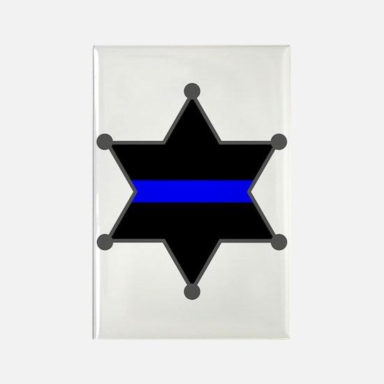Blue Line Badge 2 Rectangle Magnet