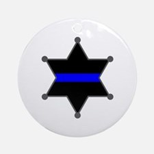 Blue Line Badge 2 Ornament (Round)