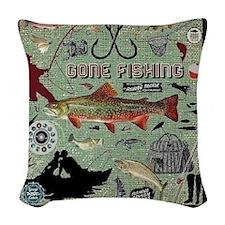 Gone Fishing Woven Throw Pillow
