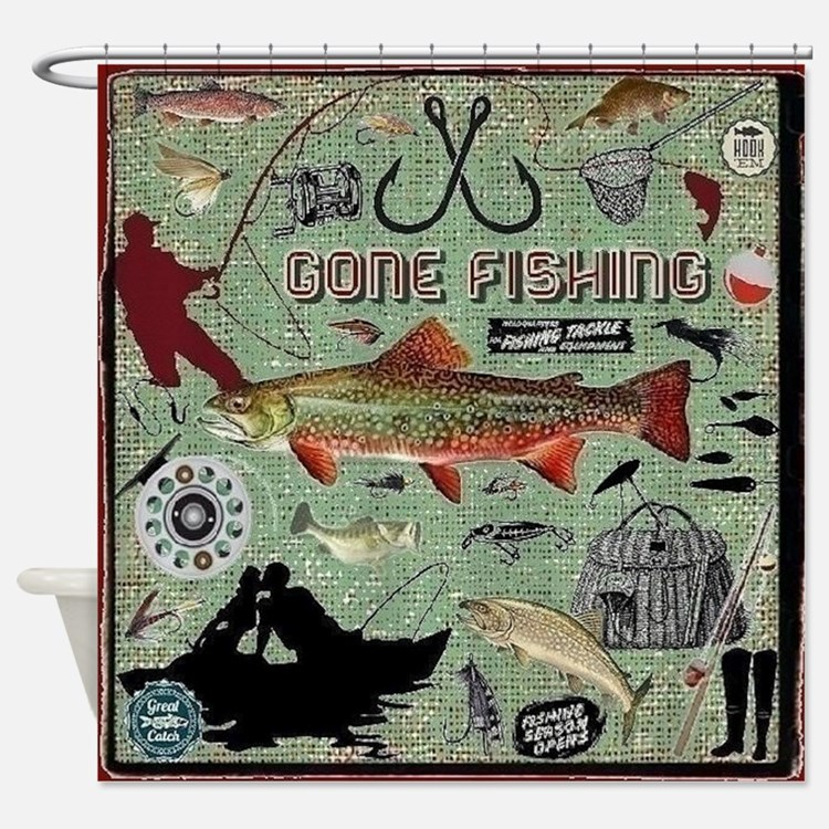 Gone Fishing Shower Curtains | Gone Fishing Fabric Shower ...