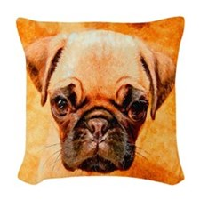 Brown Pug Puppy Woven Throw Pillow
