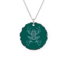 Intricate Teal Blue Tribal Tree Frog Necklace