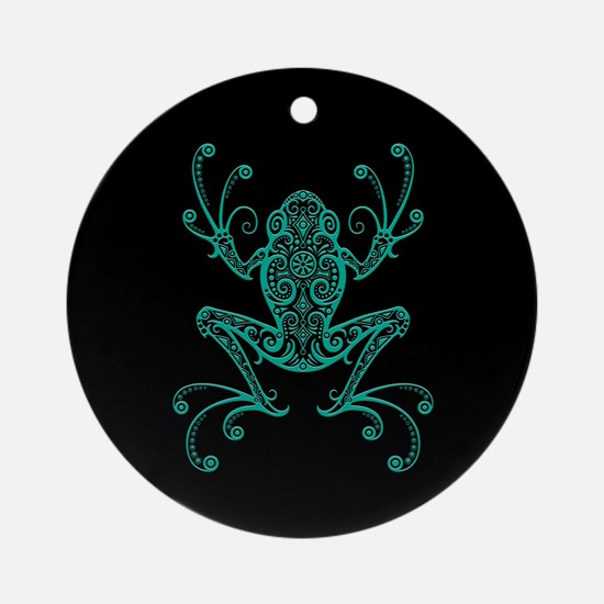 Intricate Teal Blue and Black Tribal Tree Frog Orn