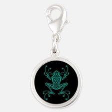 Intricate Teal Blue and Black Tribal Tree Frog Cha