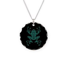 Intricate Teal Blue and Black Tribal Tree Frog Nec