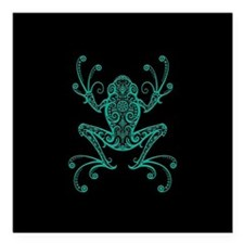 Intricate Teal Blue and Black Tribal Tree Frog Squ