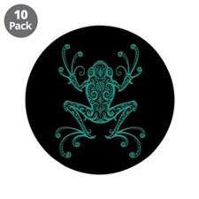 Intricate Teal Blue and Black Tribal Tree Frog 3.5